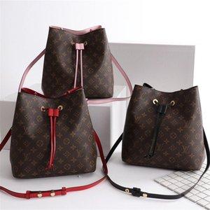 2018 Designer handbags shoulder bags leather bucket bag women flower printing crossbody bag