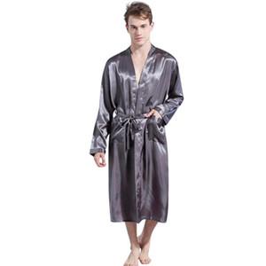 2019 Nouveau Printemps Automne luxe Peignoir homme Pyjama satin solide Kimono Homme d'été Nightgown Saten Robe Albornoz Hombre Badjas 10