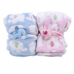 Bonito Blanket Elefante do bebê dos desenhos recém-nascidos do elefante Ar Condicionado Quilt de veludo coral quilt de dupla utilização Produtos do bebê