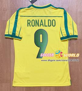 Top retro Brazil soccer jerseys 1998 Brazil home yellow RIVALDO RONALDINHO Football uniform Top qaulity Size S-XXL