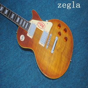 China Gitarre Bester Les Tiger Flamme Maple Top Custom Shop Brown Mahagoni Korpus 1959 R9 elektrische Gitarren-freies Verschiffen