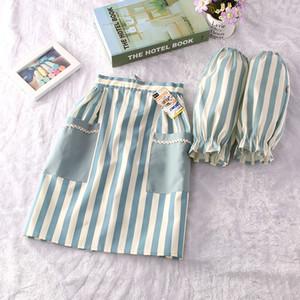 Estilo japonés corto elegante de las mujeres de Cosplay Adultos delantal de algodón delantal con mangas