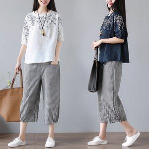 2020 summer luxury designer new large women's realistic retro drama embroidery cotton T-shirt two piece Wide Leg Pants Set
