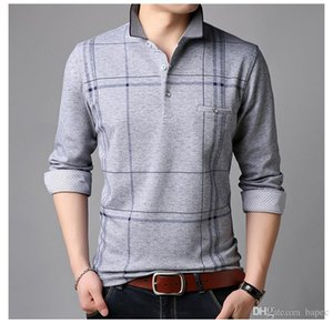 Tshirt Fashion Casual Casual Designer Long Tees Lapel Mens Slim Mens Tees Spring Cuello Rayado Qvugj