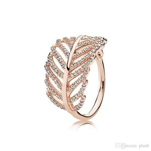 Authentic 925 Sterling Silver Light feather Ring with CZ Diamond Fit Pandora Charms Jewelry Fashion Womens Wedding Ring with Gift box