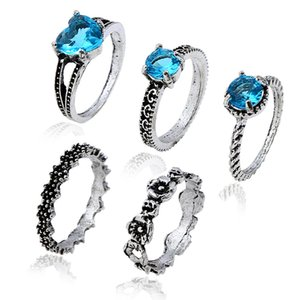Explosive European and American jewelry retro diamond-inlaid carved heart-shaped star gemstone five-piece set ring
