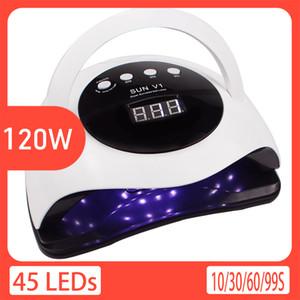 120W LED ongles Sèche 45pcs Têtes lampe UV Moment de commutation automatique du capteur Fonction guérissant tous Gel Nail Lumière sec