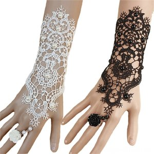 NEW Gloves & Mittens Hats, Scarves & Gloves 1pc Women Rose Beads Flower Lace Glove Goth Style Adjustable With Ring Long Bracelet Women Acces