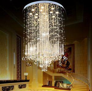 Moderne Minimaliste LED Vanity Long Escalier Cristal Lustre Luminaire pour Salon Grand Hôtel De Luxe Hall Foyer Lampe LLFA