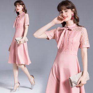 Temperament Bow Womens Dress Short Sleeve Lace Patchwork Summer Dress Fashion Retro Lady Dresses Boutique Girl Dress
