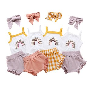 kids clothes girls rainbow outfits infant Sling tops+plaid ruffle shorts+Bow 3pcs set 2020 summer fashion baby Clothing Sets Z1111