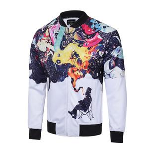 2020 neue Ankunftmens Designer Jacken Mode Schlanke Herbst Frühling Herren Mantel mit Muster-Druck-Reißverschluss-dünner Kleidung 3Colors M-3XL erhältlich