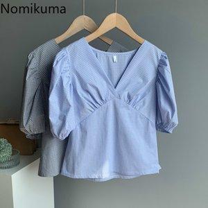 Nomikuma Элегантный V шеи рубашки плед Повседневная мода Puff рукавом корейской Блуза лета женщин New Vintage Tops Blusas Mujer 3b412