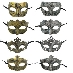 Retro Greco Roman Mens Mask for Mardi Gras Gladiator Masquerade Vintage Golden Silver Mask Carnival Halloween Masks