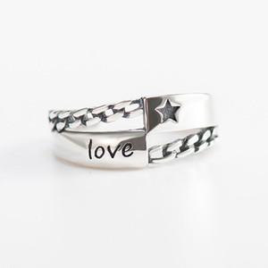 Vintage Love Letter Star Engrave Ouvrir Anneaux pour Femmes Hommes Solide 925 Bague de Fiançailles En Argent Sterling Bijoux Cadeaux YMR357