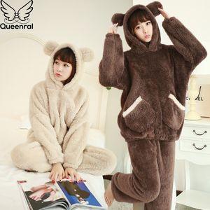 Queenral Inverno Pijamas Set Mulheres Camisola Feminino Coral velo de manga longa com capuz Início roupas quentes macio Pijamas Mujer