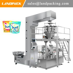 Multi Head Weigher Cleaning Capsule Premade Stand Up Pouch Fill And Seal Machine With Z Type Conveyor