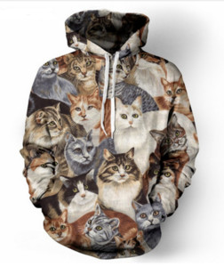 New Fashion Cool Sweatshirt Hoodies 3D Print Mens Womens Casual Cat Fashion Hot Style Streetwear Long Sleeve Clothes RL0150