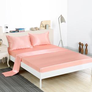 HM Life Bettlaken-Set 4-tlg. 100% Polyester, einfarbig Bettlaken-Kissenbezug-Sets, Königin / Königin Größe, weich, bequem, ausgestattet