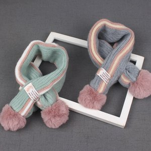 2018 New Baby Cross Scarf Winter Season 1-8 Years Old Cute Double Ball Childrens Scarf Boys and Girls Warm Scarf