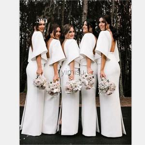 Satin arabo Mermaid abiti da sposa con scollo a V Backless fessura posteriore mezza manica Tromba Garden Country Wedding Guest abiti damigella d'onore Dress