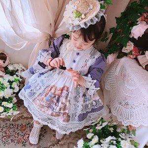 2020Custom Girl Lolita Retro Princess Dress Half-Sleeve Shirt Dress Court Style Bubble Christmas Kids Dresses for Girls