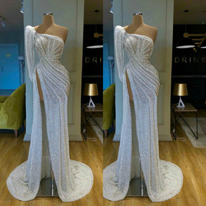 2020 Glitter Luxury Evening Dresses One-shoulder High-split Ruched Sequined Beaded Prom Dress Sweep Train Custom Made Party Gown