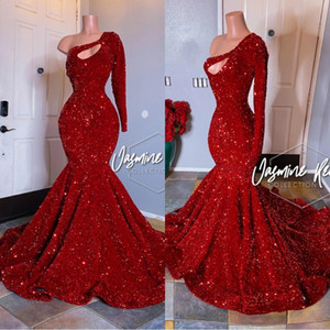 Vintage 2020 de manga larga de lentejuelas de los vestidos de noche de la sirena de un hombro barrer de tren brillante Prom Vestidos africana más el tamaño de vestido reflectante