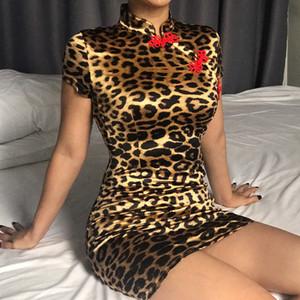 CINESSD neue Frauen reizvolle chinesische Knoten-Art-Leopard-Minikleider Short Sleeve Slim Fit Kleid Turtleneck Bodycon Vestidos