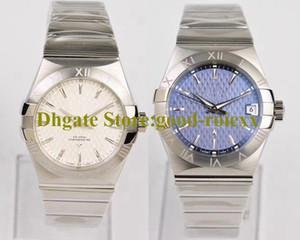 Unisex orta ölçekli 38mm İzle Mavi Beyaz Otomatik Cal.8500 Saatler Kadınlar Erkek Co Eksenel tarihi Kronometre Çelik Safir VS Fabrikası saatı