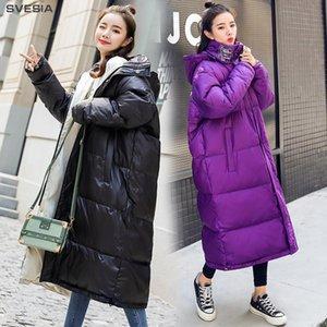 Svesia mulheres para baixo casacos jaqueta 2018 moda selvagem simples inverno com capuz de manga longa mulheres encaixotam casacos