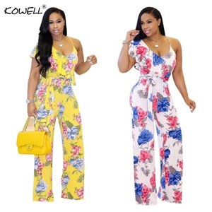 Kowell Flower Halter Women Jumpsuit Sexy Bodysuit Boho Print V Neek Backless Summmer Style Streeetwear Casual Rompers