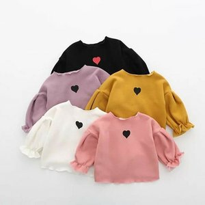 2020 New Girl T-shirt Toddler Kids Baby Girl Long Sleeve Ruffle Heart Prints T-shirts Casual Autumn Clothes 1-5Y