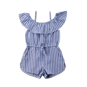 Summer Blue Striped Romper for 1-6Y Toddler Kids Baby Girl Clothes Off shoulder Cape Collar Strap Romper Jumpsuit Outfits