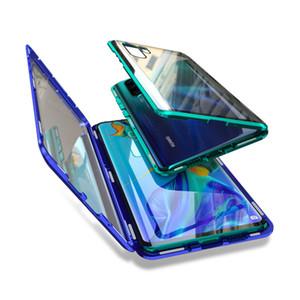 امتصاص المغناطيسي حالة المعادن فليب الهاتف لهواوي P30 P30Pro P30Lite تغطية مزدوجة من جانب الزجاج المقسى HuaweiP30 برو لايت حقيبة
