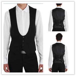 Black Wedding Groom Vests Regular Style Custom Made Formal Men Suit Vest Wedding Prom Dinner Waistcoat (Vest+pants)