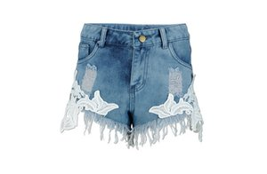 Europe and The United States Style Fashion Sexy Lace Stitching Denim Shorts Leisure Fringe Low Waist Shorts Free Shipping T200603