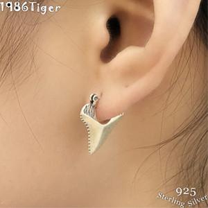 1 пара 925 серебряные серьги-гвоздики с треугольными зубами для женщин и мужчин ретро-панк Тайский серебряный геометрический подарок серьги