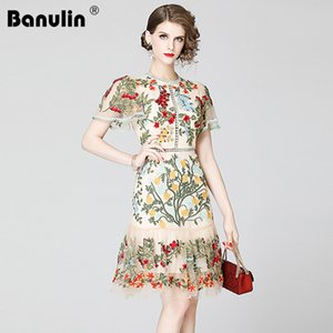 wholesale Fashion Designer Runway Dress Summer Women's Short Sleeve Floral Embroidery Elegant Lace Bodycon Ruffles Short Dresses