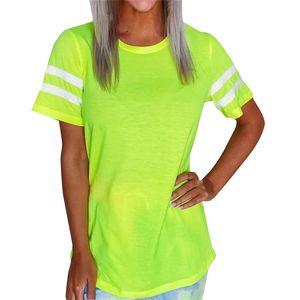 Verano de las mujeres camisetas de la moda de rayas con paneles de color fluorescente Tees Casual cuello de equipo de manga corta camisetas Ropa de Mujer