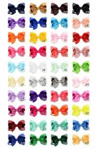 New40pcs 3 Zoll Kind Mädchen große Band Haarbögen Clips Zubehör für Kleinkinder Kinder Mädchen Haarschmuck Solid Color Bows Botique Clip