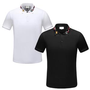 novos 2020 Mens clássico Designer homens de roupas Polo Striped carta polo tecido t-shirt gola t-shirt ocasional tee