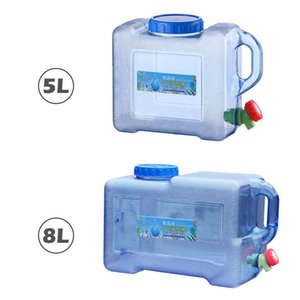5L 8L Car Portable Handheld Water Container Outdoor Self-Driving Tour With Faucet Camping Square Barrel Plastic Storage Bucket