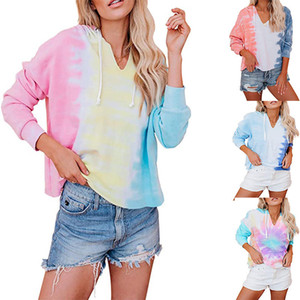 New women Tie Dye Thin Hoodie sweatshirts Autumn Long sleeve oversize ladies pullovers casual loose hooded shirt Tops Streetwear