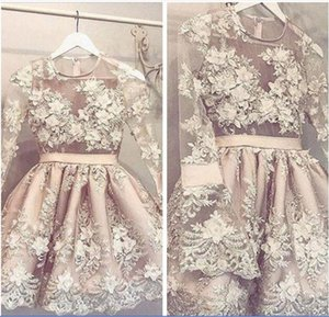 Beautiful Long Sleeves Champagne Short Homecoming Dresses Lace A-Line Beaded Formal Special Occasion Party Gowns Custom Online