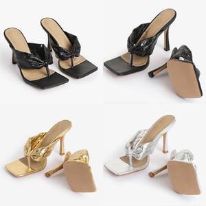 2020 Hot Sale Designer Womens Bling Black NightClub Summer Square Toes Heel Sandals Solid Color Ladies Pinch toe Slippers Sliders Shoes