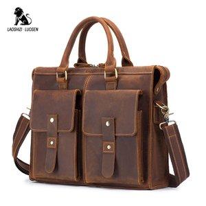Herrenhandtasche Laoshizi Tote Tasche Leder Messenger Echte Aktentasche Pferd Reisetaschen Geschäftsmann Verrückt Luogen WNFCR