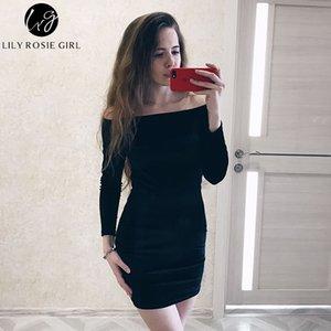 Сексуальная с плеча красное вино бархат зимняя вечеринка женщины с длинным рукавом элегантный карандаш Bodycon платье Feminino Vestidos Q190518