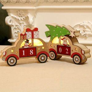 Noel Şenlikli Parti Ahşap Parlayan Perpetual Calendar Karikatür Araç Shape Dekorasyon Malzemeleri