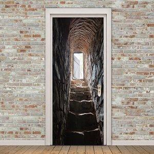 ПВХ самоклеящегося Водонепроницаемого Обои 3D Stereo Лестница Фотообои стикер двери Гостиная Личность Home Decor стикер T200610